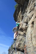 Rock Climbing Photo: Sara starting the steepness on P2 (which can be co...