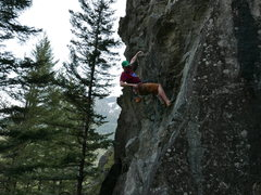 Rock Climbing Photo: Clipping the last bolt before the roof. Fun climb,...
