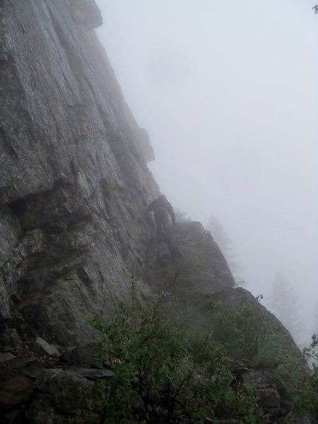 Rock Climbing Photo: The scramble up the ledge above the front triangle...