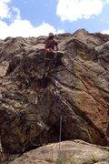 Rock Climbing Photo: Gino finishing the crux.
