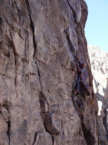 Rock Climbing Photo: Mike Arechiga on, One Gun Salute, 5.9