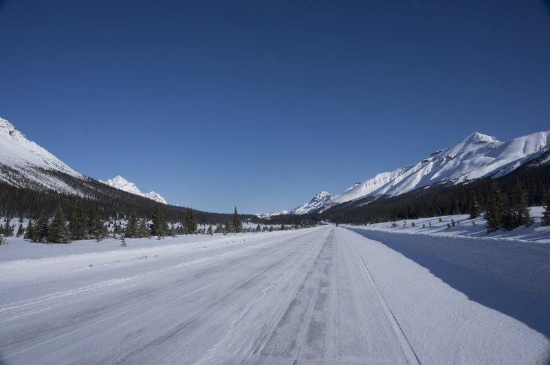 Looking north on Icefields Parkway around Bow Lake.