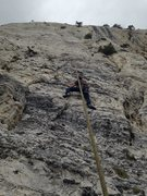 Rock Climbing Photo: This route is about 15' left of the detached pilla...