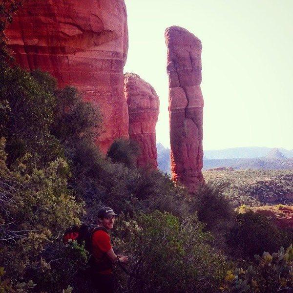 Rock Climbing Photo: Nate bushbashing his way to the base.