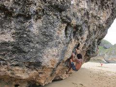 Rock Climbing Photo: Fayah Dragon on the Trufa boulder near Aguadilla.