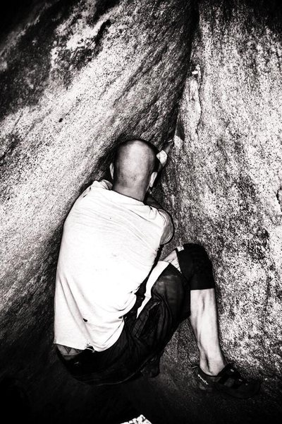 Rock Climbing Photo: 30' roof crack!