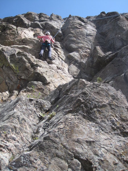 Audrey on Left Variation, with crux above.