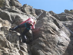 """Rock Climbing Photo: Audrey attempting the """"direct"""" (harder) ..."""