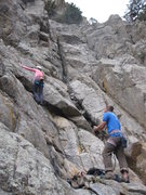 Rock Climbing Photo: Audrey on the 4th class terrain below the 3 routes...