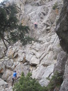 Rock Climbing Photo: Audrey heads up the center route, Hound's Tooth.