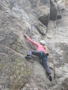"""Rock Climbing Photo: Audrey reaches out left to the """"crux"""" ho..."""
