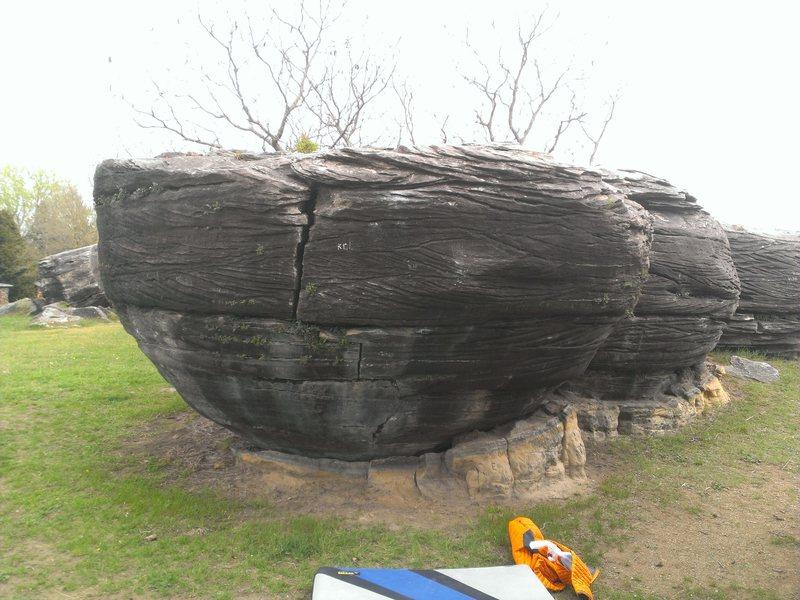 The boulder I Love Turtles is on.