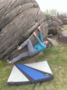 Rock Climbing Photo: Sarah pulling down on the Unknown V1.