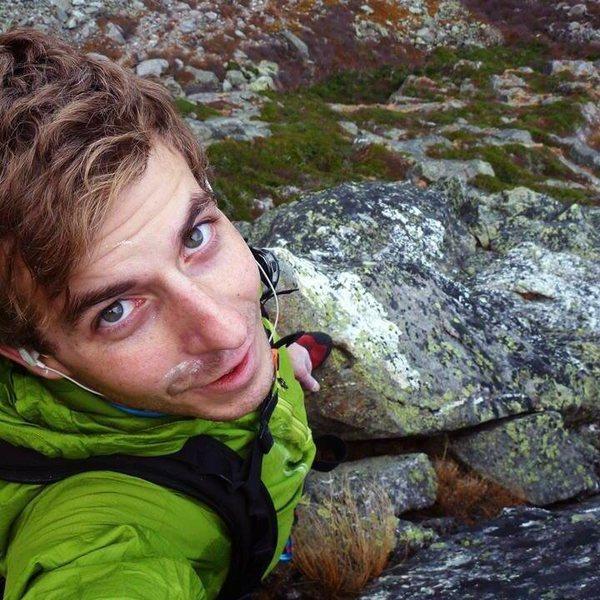Post-crux solo selfie on my fave rock route, Pinnacle Ridge (on Mount Washington, NH)