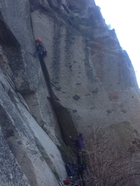 Rock climbing - you can look over and see a really nice waterfall from here