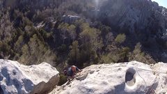 Rock Climbing Photo: Milton topping out on Too Much Fun. Huge belay led...
