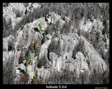 Rock Climbing Photo: Red lines p1-3 green p2