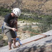 Rock Climbing Photo: Rappeling off 1st pitch rap rings. Had to double f...