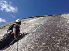 Rock Climbing Photo: Pitch 3 belay station. Don't use the middle bolt. ...