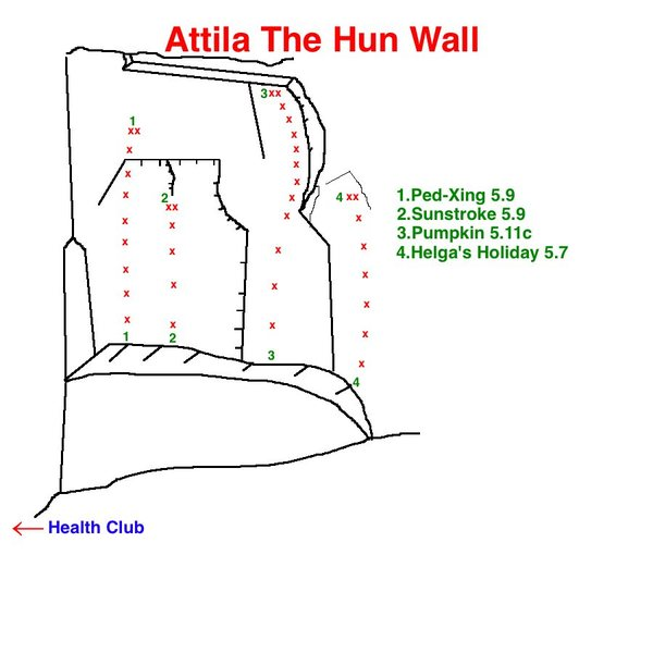 Topo to the left side of Attila The Hun Wall