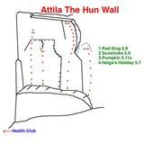 Rock Climbing Photo: Topo to the left side of Attila The Hun Wall