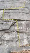 The somewhat contrived start to Coprophagia. Guidebook describes a 5.12 variation that goes directly up into the crack