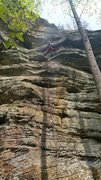Rock Climbing Photo: Onsight of Boltergeist, 5.10b, Red River Gorge KY