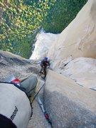Rock Climbing Photo: Looking down on Jonathan above Camp 6 and Changing...