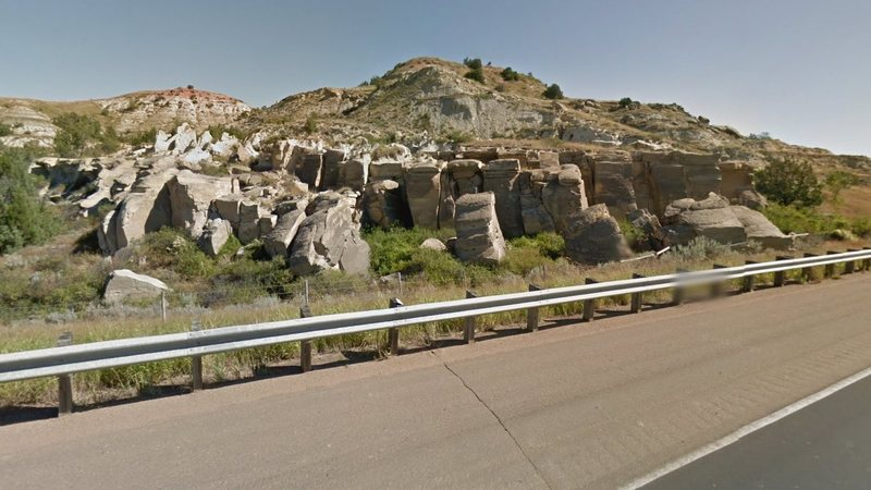 I-94 view of the Medora Interstate Rocks.