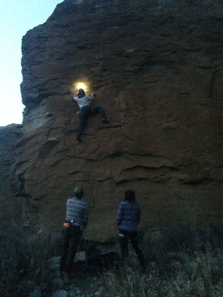 Working Hell's Heaven (5.10+) just after sunset.