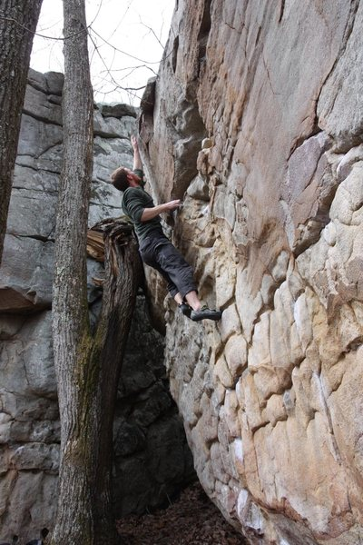 Rock Climbing Photo: The committing top-out