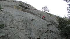 Rock Climbing Photo: Lew taking the lead.
