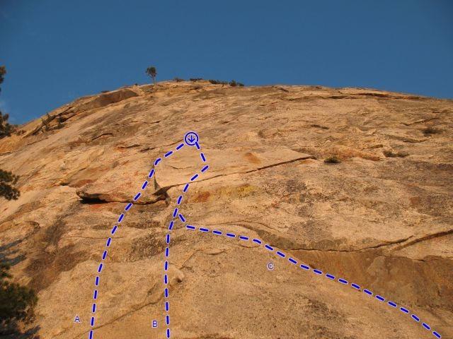 Flintstone Slab (center) detail, Tahquitz Rock<br> <br> A. Betty (5.9)<br> B. Barney (5.11a TR)<br> C. Dino (5.10C)