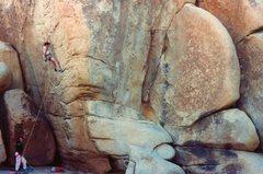 Rock Climbing Photo: John Yablonski working the moves with Jeff Constin...