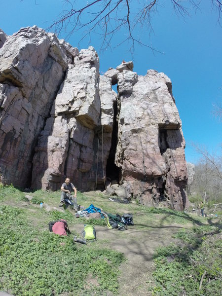 Rock Climbing Photo: Paul preparing to toprope The Layback.