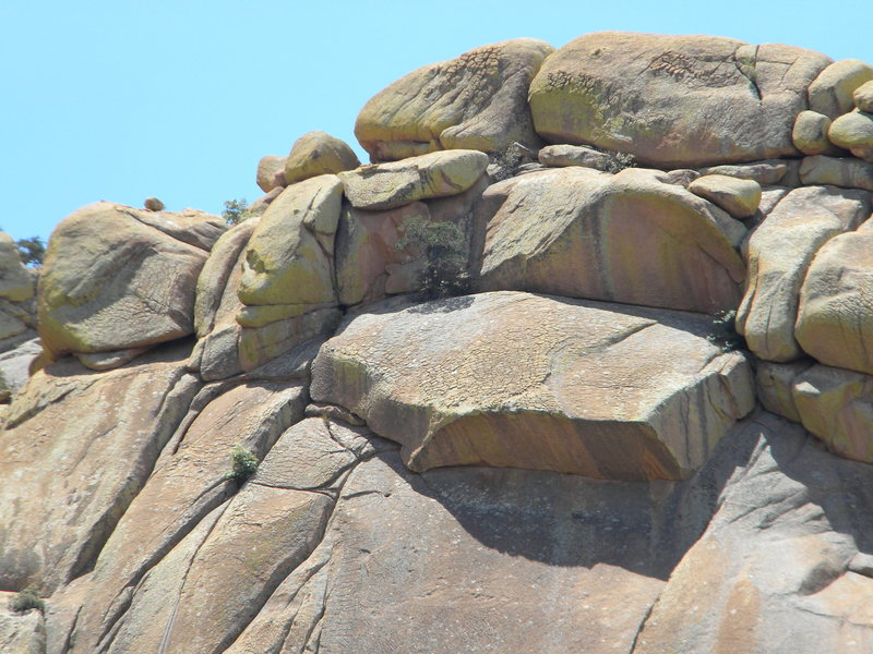 Rock Climbing Photo: Route finishes at tree,  then rap 140'.