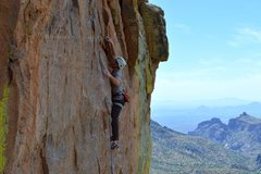 Rock Climbing Photo: Low on the route with Thimble Peak and Tucson in t...
