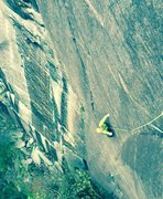 Rock Climbing Photo: Looking down the long and amazing P1. The headwall...