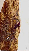 Rock Climbing Photo: Peter Hayes, ca. 1988, at the crux of Maggie's Far...