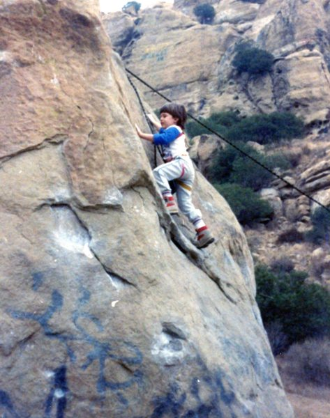 Zack Wilfley, 3, on his first roped climb. ca. 1988.