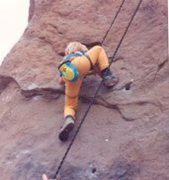 Rock Climbing Photo: Jesse Wilfley, 6, on his first roped climb, 1988.