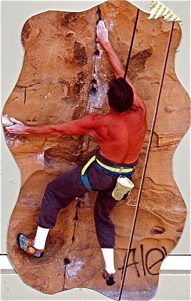 Peter Hayes, 1988, nearing the low crux on Sandblast.