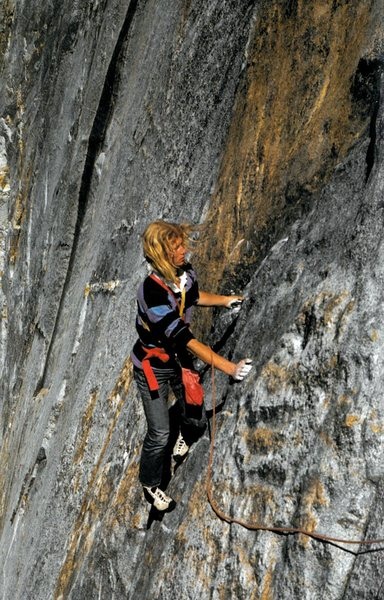 "Kevin Worrall following the 3rd pitch. Photo by George Meyers. Scanned from the classic photo book ""Yosemite Climber""."