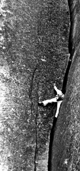 Rock Climbing Photo: Tom Higgins climbing through the crux section. Pho...