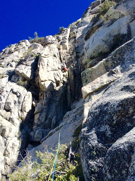 Rock Climbing Photo: NF leading the Chute pitch during the 2nd ascent o...
