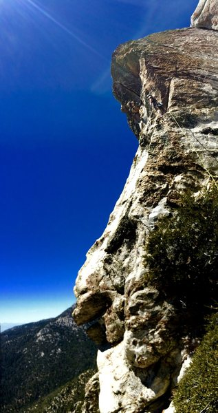 Jonathan Reinig stepping out onto the ever imposing Head Wall of the DAB during the 2nd ascent of the DAB Direct!!!