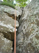 Rock Climbing Photo: After srubbing. Looking up from the start of the c...