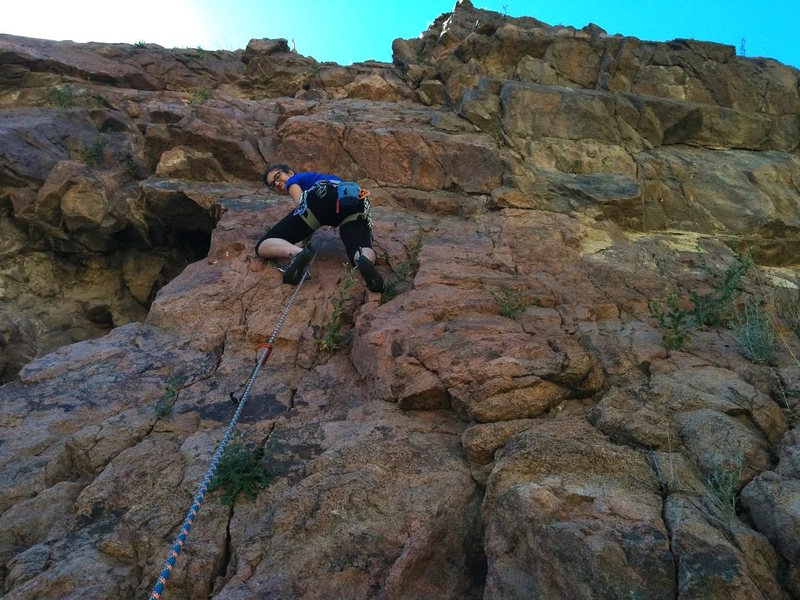 Rock Climbing Photo: Climbing up Lost Padre right before the roof crux