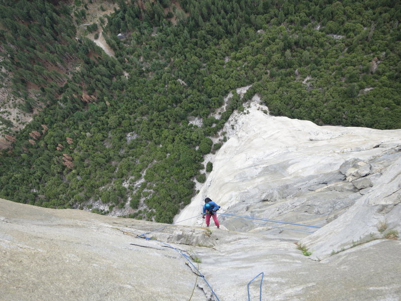 Rock Climbing Photo: HG following Great Roof, Nose Route, 21st June 201...