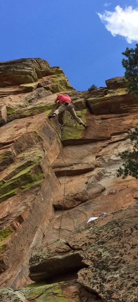 Climber on <em>Embracing Eleanor</em>.